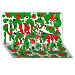 Red and green Christmas design  Happy Birthday 3D Greeting Card (8x4)
