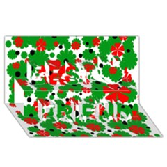 Red and green Christmas design  Best Friends 3D Greeting Card (8x4)