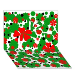 Red and green Christmas design  Apple 3D Greeting Card (7x5)