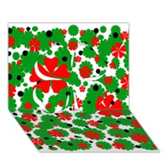 Red and green Christmas design  Clover 3D Greeting Card (7x5)