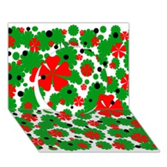 Red and green Christmas design  Circle 3D Greeting Card (7x5)