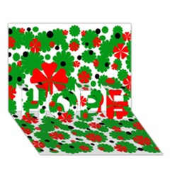 Red and green Christmas design  HOPE 3D Greeting Card (7x5)