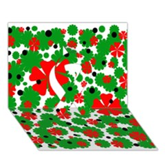 Red and green Christmas design  Ribbon 3D Greeting Card (7x5)
