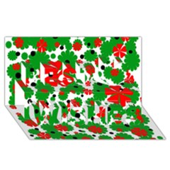 Red and green Christmas design  Best Wish 3D Greeting Card (8x4)