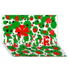 Red and green Christmas design  ENGAGED 3D Greeting Card (8x4)