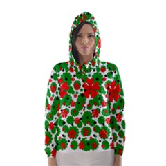Red and green Christmas design  Hooded Wind Breaker (Women)