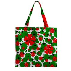 Red and green Christmas design  Zipper Grocery Tote Bag