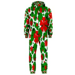 Red and green Christmas design  Hooded Jumpsuit (Men)