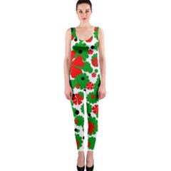 Red and green Christmas design  OnePiece Catsuit