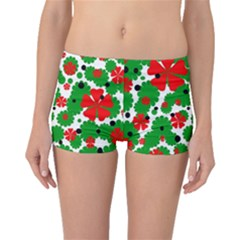 Red and green Christmas design  Boyleg Bikini Bottoms