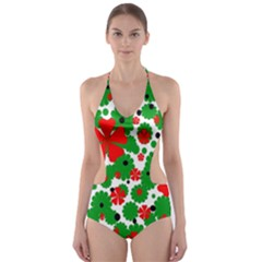 Red and green Christmas design  Cut-Out One Piece Swimsuit