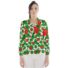 Red and green Christmas design  Wind Breaker (Women)
