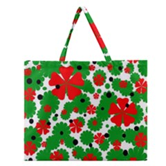 Red and green Christmas design  Zipper Large Tote Bag