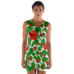 Red and green Christmas design  Wrap Front Bodycon Dress
