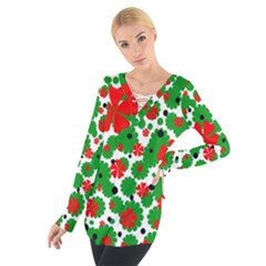 Red and green Christmas design  Women s Tie Up Tee