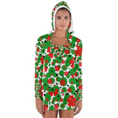Red and green Christmas design  Women s Long Sleeve Hooded T-shirt