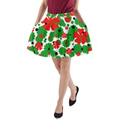 Red and green Christmas design  A-Line Pocket Skirt