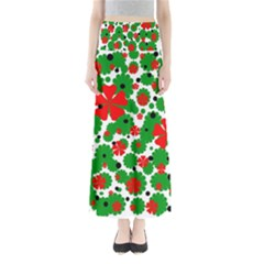 Red and green Christmas design  Maxi Skirts
