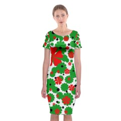 Red And Green Christmas Design  Classic Short Sleeve Midi Dress