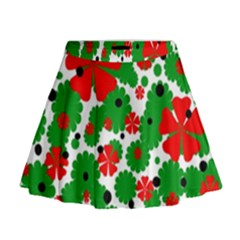 Red And Green Christmas Design  Mini Flare Skirt