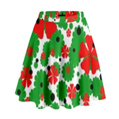 Red And Green Christmas Design  High Waist Skirt