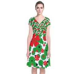 Red And Green Christmas Design  Short Sleeve Front Wrap Dress