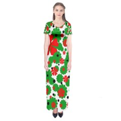 Red and green Christmas design  Short Sleeve Maxi Dress