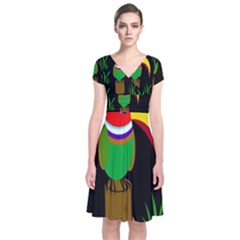 Toucan Short Sleeve Front Wrap Dress