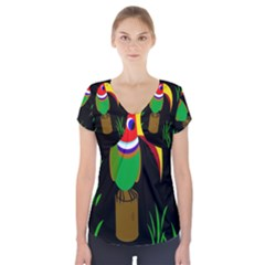 Toucan Short Sleeve Front Detail Top