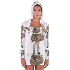 Cat Musician 01 Women s Long Sleeve Hooded T Shirt