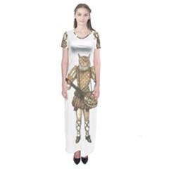 Cat Musician 01 Short Sleeve Maxi Dress