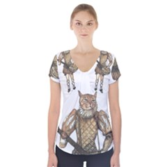 Cat Musician 01 Short Sleeve Front Detail Top