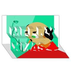Smoker  Merry Xmas 3d Greeting Card (8x4)
