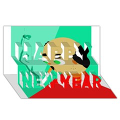 Smoker  Happy New Year 3d Greeting Card (8x4)