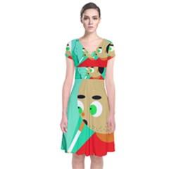 Smoker  Short Sleeve Front Wrap Dress