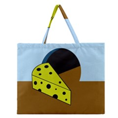 Cheese  Zipper Large Tote Bag