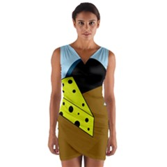 Cheese  Wrap Front Bodycon Dress