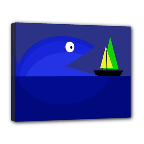 Blue monster fish Canvas 14  x 11