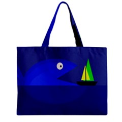 Blue monster fish Mini Tote Bag