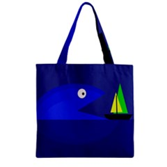 Blue monster fish Zipper Grocery Tote Bag