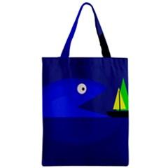 Blue monster fish Zipper Classic Tote Bag