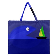 Blue monster fish Zipper Large Tote Bag