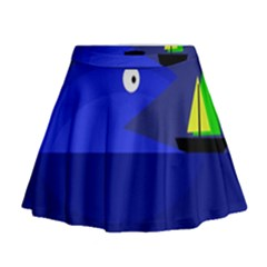 Blue monster fish Mini Flare Skirt