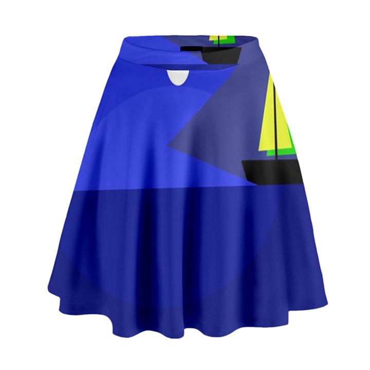 Blue monster fish High Waist Skirt