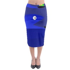 Blue Monster Fish Midi Pencil Skirt