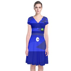Blue Monster Fish Short Sleeve Front Wrap Dress