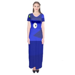 Blue Monster Fish Short Sleeve Maxi Dress