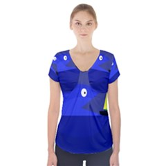 Blue Monster Fish Short Sleeve Front Detail Top