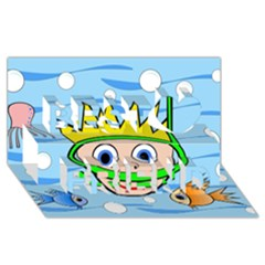 Diver Best Friends 3D Greeting Card (8x4)