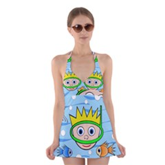 Diver Halter Swimsuit Dress
